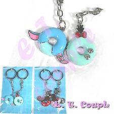 2P Stitch scrump adorable Love couple donut diamond pendant Disney cute keyring