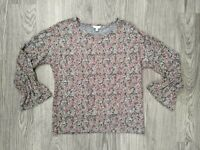 Lucky Brand Women's Floral Long Sleeve Pullover Top Shirt Sz Small Gray