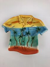 Clay Art Serving Bowl Hawaiian Shirt Luau Tiki Bar Beach Green Yellow Hibiscus