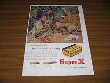 1957 Print Ad Western Super-X .22 Rifle Shells Dad, Son & Dog in Woods