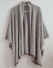 Chico's size 2 3 One Size Poncho Wrap Cardigan Sweater White & Tan Striped