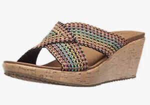 SKECHERS Beverlee Delighted Wedge Sandals Slides US 9 #19927