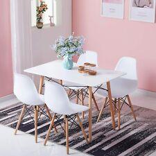 Mesa de comedor rectangular y 4 sillas de comedor de estilo escandinavo Juego de