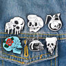 Flower Skull Piercing Brooch Pins Collar Lapel Breastpin Corsage Badge Jewelry