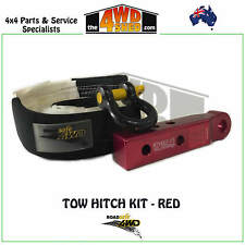 ROADSAFE 4WD REAR EXTENDED TOW HITCH KIT with SNATCH STRAP & BOW SHACKLE - RED