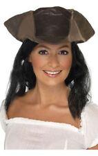 Brown Pirata Cappello con capelli Pirate's Fancy Dress PAC