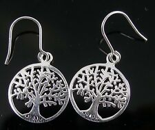 Brand New Solid Sterling Silver Tree Of Life Earrings