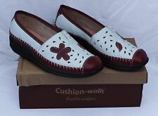 NEW Cushion Walk Burgundy/Dark Red & White Loafers Size 3E WIDE FIT (Eu 36)