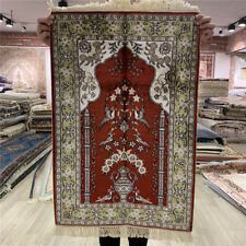 Yilong 2'x3' Red Handmade Silk Carpet Living Room Hand Knotted Area Rugs 408M