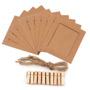 10x Paper Photo Set DIY Wall Picture Wood Rope Album Frame Hanging Clamp Clips~