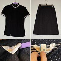 VINTAGE Black White KORET Of California Shirt Skirt 2 Pc SET Outfit Size 10