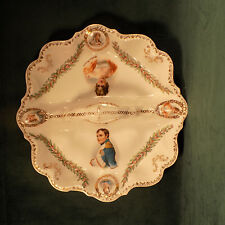 ANTIQUE GERMAN PORCELAIN PORTRAITS OF NAPOLEON & JOSEPHINE TIDBIT TRAY ELEGANT