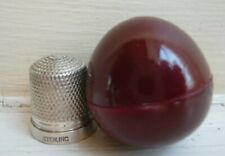 More details for vintage antique wooden egg thimble holder and sterling silver thimble