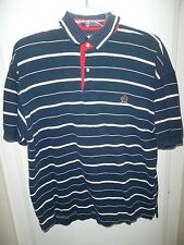 Tommy Hilfiger Polo Shirt Medium Short Sleeve  Blue & White Stripes Cotton