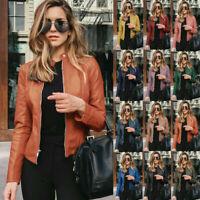 Women's Casual PU Leather Zipper Biker Jacket Ladies Blazer Coat Tops Outwear