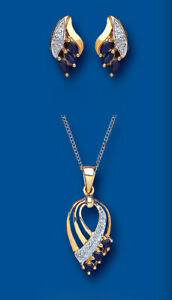 Sapphire and Diamond Set Pendant and Earrings Yellow Gold
