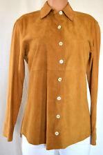 IN TRANSIT 2 SUEDE CAMEL LONG SLEEVES FRONT BUTTON SHIRT SIZE L