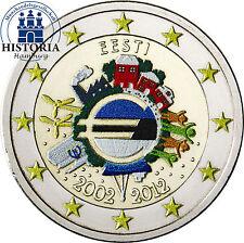 Estland 2 Euro Gedenkmünze 2012 bfr. 10 Jahre Euro Bargeld in Farbe
