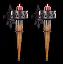 Mittelalterliche Wandfackeln mit Holzgriff 2er Set - Kerzenhalter Wand Fackel