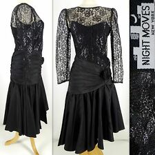 NWT Vtg 80's NIGHT MOVES New York Dress 7/8 Black Acetate Nylon Lace Ruched