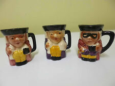 3 x Miniature Vintage Toby Character Jugs by Staffordshire Pottery