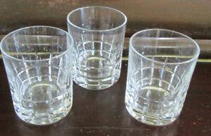 3 X HEAVY CRYSTAL WHISKY GLASSES