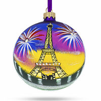 Eiffel Tower, Paris, France Glass Ball Christmas Ornament 4 Inches