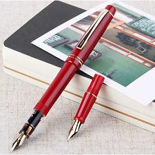 2017 Wing Sung 659 Red Fountain Pen Screw Golden Clip EF/F 2 Nib 0.38/0.5mm #JK