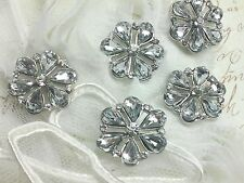 Clear Glass Rhinestone Silver Metal Buttons Bridal Embellishment 18 mm 10 pieces