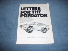 "1971 Formula 1 Super Stock Tires Vintage Ad ""Letters for the Predator"" Mustang"
