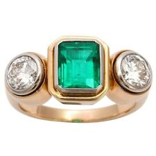 4Ct Asscher Cut Emerald Simulnt Diamond 3 Stone Mens Ring Yellow Gold Fns Silver