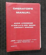 GENUINE AVCO LYCOMING 0-235 & 0-290 AIRCRAFT ENGINE OPERATORS MANUAL VERY NICE