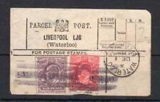 EDWARD VII 6d (DAMAGED) + 1d USED ON PARCEL POST LABEL (LIVERPOOL, WATERLOO)