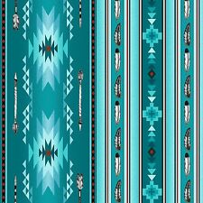 Turquoise Southwest Blanket Stripe, Navaho Designs, Native Spirit (By 1/2 Yard)