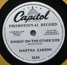 Martha Carson Singin on Other Side DJ Promo Country Gospel 78 NM Better Place