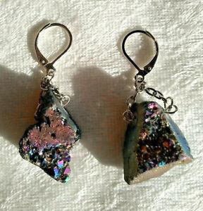 Iridescent rainbow titanium coated quartz natural stone dangle earrings druzy