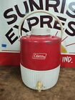 Vintage Coleman Jug Cooler Red 2 Gallon Water Thermos Camping Dated 1976