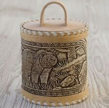 Made in Russia. Birch Bark, Bear Kitchen container, hand crafted barrel