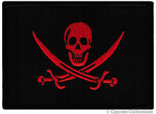 PIRATE FLAG iron-on PATCH JOLLY ROGER Skull Swords NEW - BLOOD RED VERSION