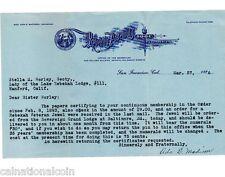 1926 LADY of the LAKE REBEKAH LODGE #111 I.O.O.F. LETTER HEAD Ref 30th Pin SF CA