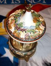 More Moon River Porcelain Reuge Musical Cigarette Lipstick Safe Made in Italy