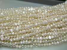 AAA 3 loose str vintage small oval flat freshwater biwa pearl-side drilled 4-5mm
