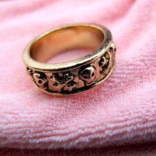 Antico vintage bronzo teschio ossa incrociate anello punk goth motociclista