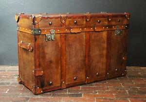 English Handmade Tan Leather Vintage Inspired Coffee Table Trunk ZA14