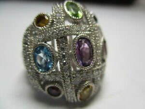 STERLING SILVER 925 JUDITH RIPKA MULTI GEMSTONE CABLE CZ COCKTAIL RING SIZE 6