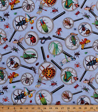 Insects Bugs Bees Magnifying Glass Science Kids Cotton Fabric Print BTY D673.33