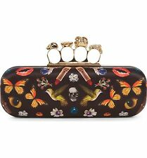 New Alexander McQueen Obsession Print Knuckle Box Clutch with Dust Bag