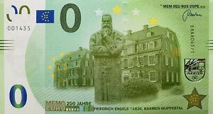 0 Euro Memo Schein Friedrich Engels 200 Jahre 0 € Banknote