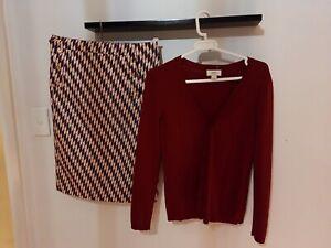 Ann Taylor Loft Cardigan With A Matching Skirt Set Size M