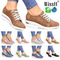 UK Womens Wedge Heel Breathable Trainers Sneakers Casual Comfy Shoes Size 3.5-8